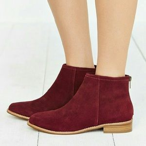 •Anthropologie• Burgundy Suede Ankle Boots